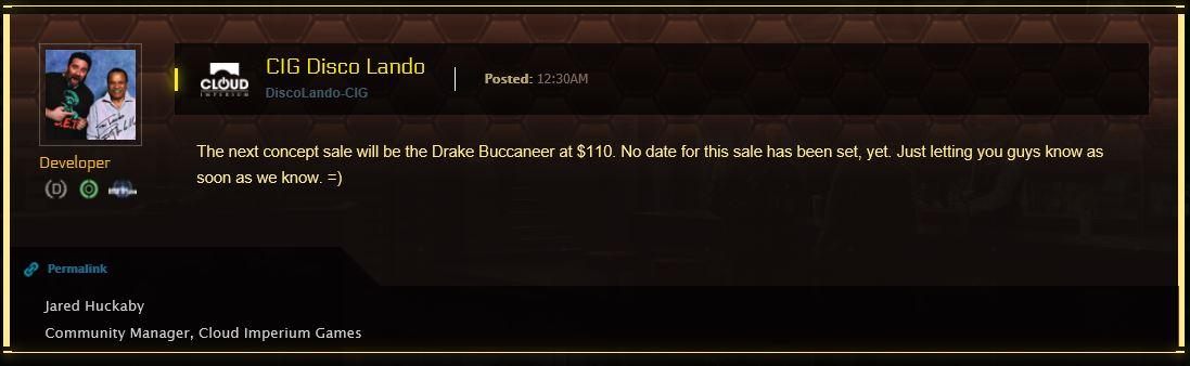 Buccaneer Verkauf